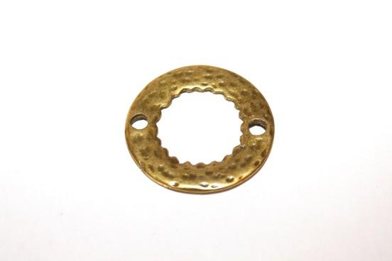 Argola Metal Fechada Ouro Velho Martelado 33mm