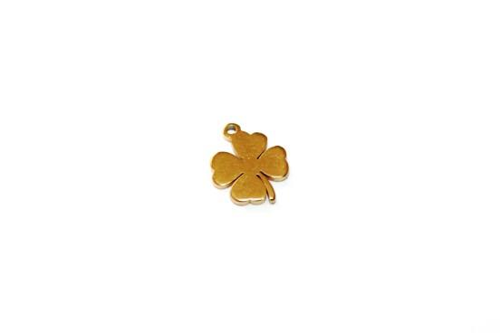 Berloque Trevo Aço Dourado 10mm