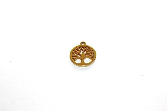 Berloque Árvore da Vida Aço Dourado 10mm