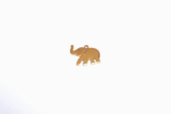 Berloque Elefante Aço Dourado