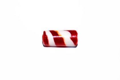 Murano Tubo 25mm Vermelho c/ Branco