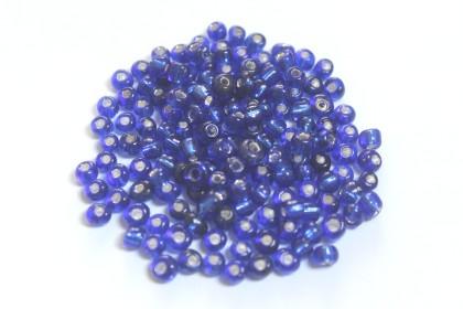 Missanga Azul Escuro c/ Miolo Prata