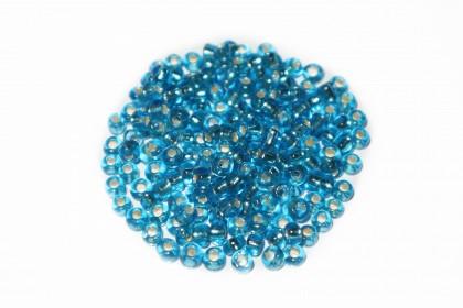 Missanga Azul Petóleo Miolo Prata
