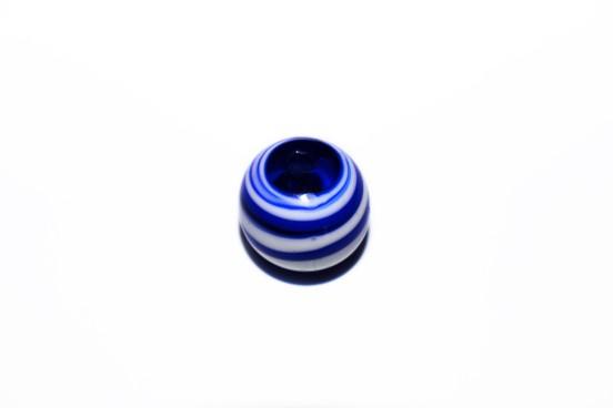 Murano Bola 19mm Azul c/ Branco