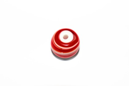 Murano Bola 19mm Vermelho c/ Branco