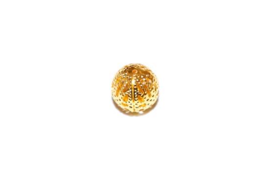 Conta Metal 12mm Rendada Dourada